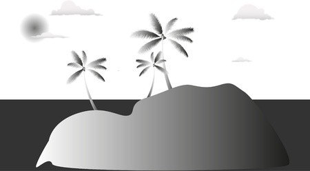 the small island in grayscale
