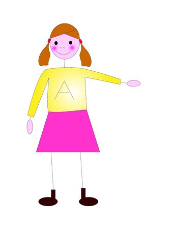 illustration of little girl on a white background