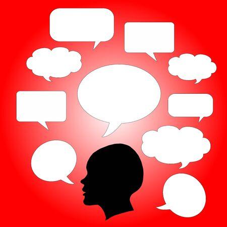 Symbole mit weiblichen Profil und Adware Illustration