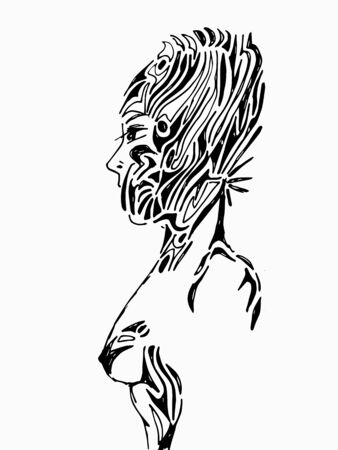 drawing female face on white background