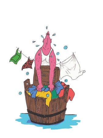 illustration of man who does the laundry Illustration