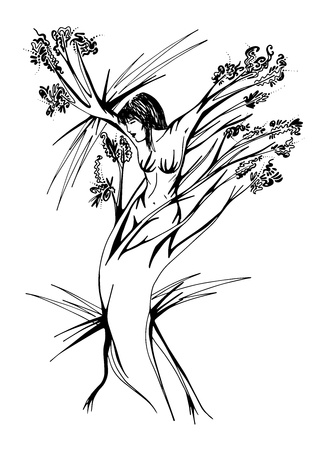 the woman who turns into a tree Illustration