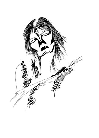 illustration of woman tribal style Illustration
