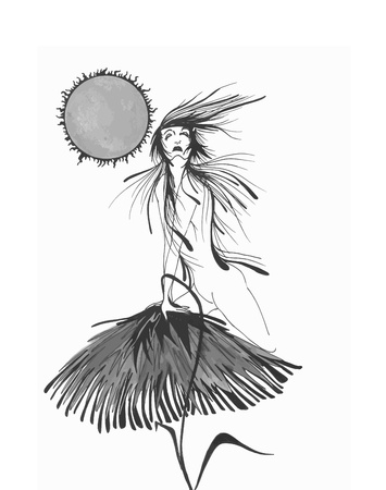black and white illustration of a woman on a flower nua Illustration