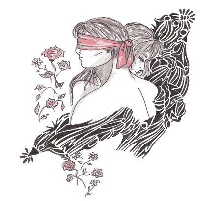 Paar auf Hintergrund mit Linien und Kurven Illustration