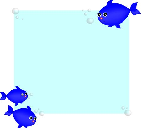 fish blue on light blue background vector