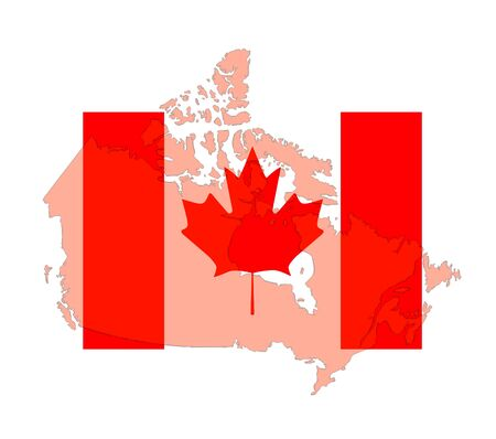 map of Canada on the banner on white background
