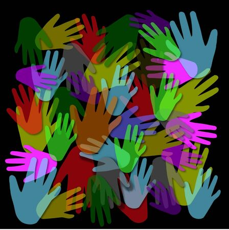 abstract with colored hands on a black background