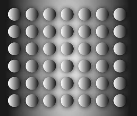 3d metal balls on a gray background with reflection Illustration