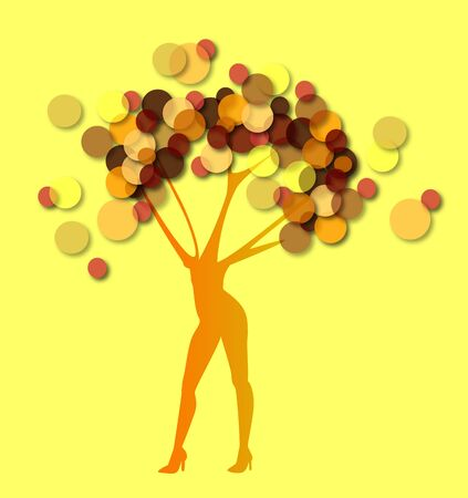 the woman tree on yellow background