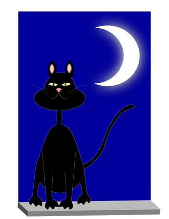cat on the window in the moonlight Stock Vector - 18387037