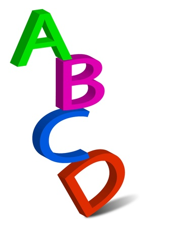 the first few letters of the alphabet on a white background Illustration