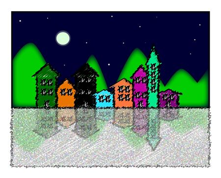 verses: houses of different colors with mountains in the background verses