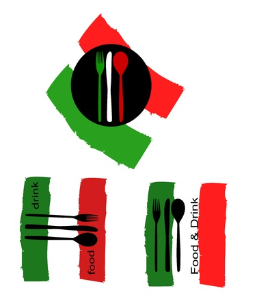 tricolour: vector logos suitable for catering with Italian flag Illustration
