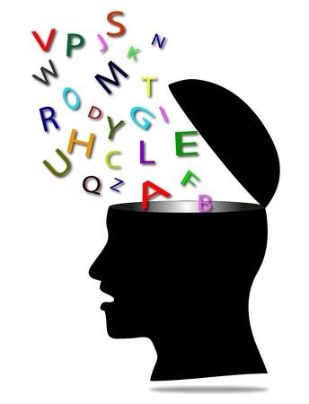 stilisierte m�nnliche Kopf, der die Kommunikation darstellt Illustration