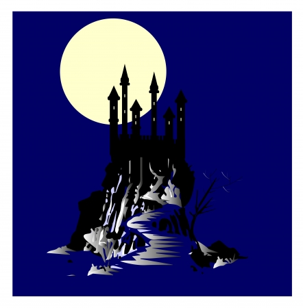 the haunted castle with the full moon in the background Stock Vector - 18643615