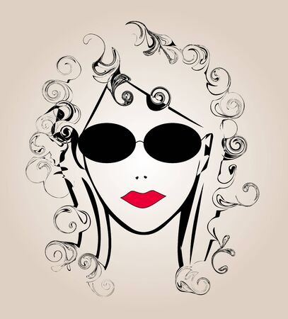 stylized face of a woman with glasses Illustration