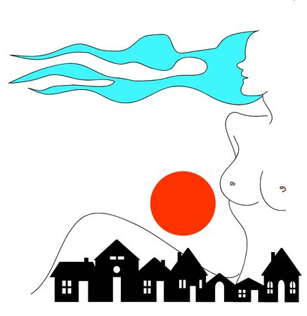 abstract landscape with women Stock Vector - 18781378