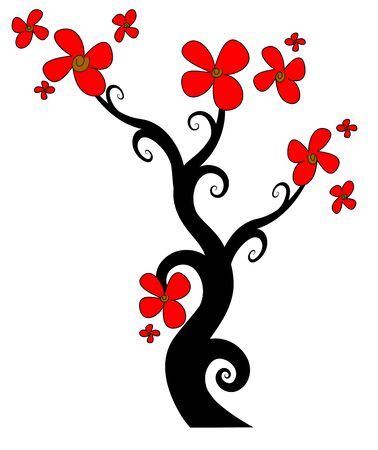 flowering tree in red on a white background Stock Vector - 18781376