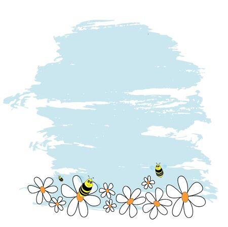 bees and daisies Stock Vector - 18858772