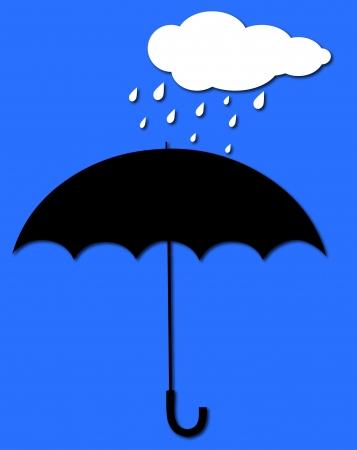 rains: umbrella and billowing cloud of rain