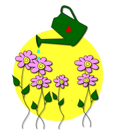 watered: illustration of flowers watered vngono