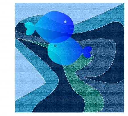 blue fish: fish on a blue background blue mosaic effect Illustration