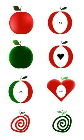 set of apples on white background Stock Vector - 18999912