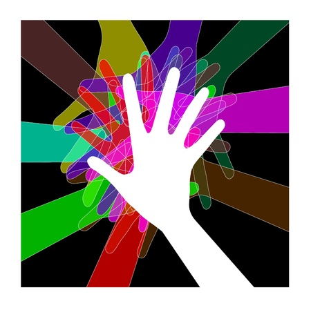 rally finger: group of colored hands on a black background Illustration