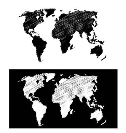 planisphere: carta geografica scarabocchiato Vettoriali