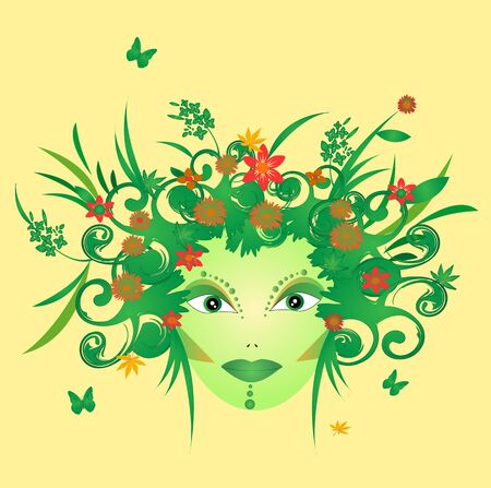 illustration of mother nature with flowers and butterflies Stock Vector - 19193538