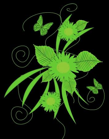 reason florealecon green butterflies on a black background Stock Vector - 19266885