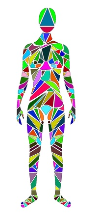 human figure made up of colorful pieces on white background Stock Vector - 19266883