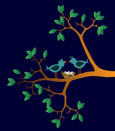 pair of birds with nest on a branch Vector