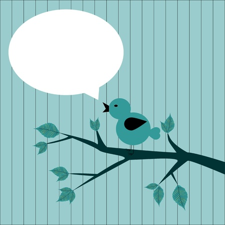 vector illustration of the bird on branch with sticker to write Vector