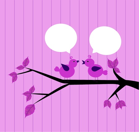 pair of birds chatting on the branch Stock Vector - 19374777