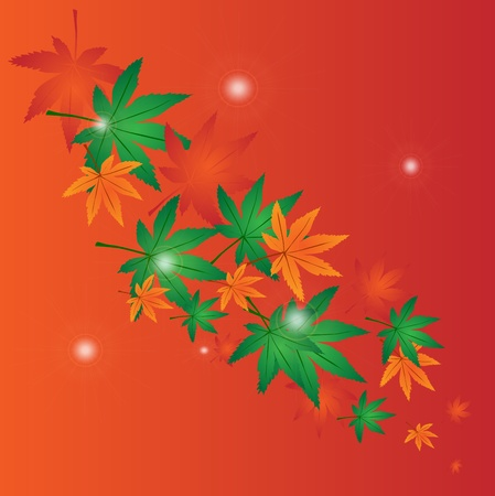 background with leaves and bright balls Stock Vector - 19374787