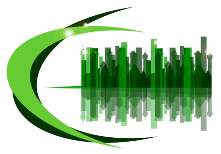 echo:  the green city on a white background Illustration