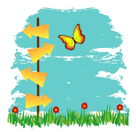 teaches: signs of arrow-shaped landscape with grass and flowers Illustration