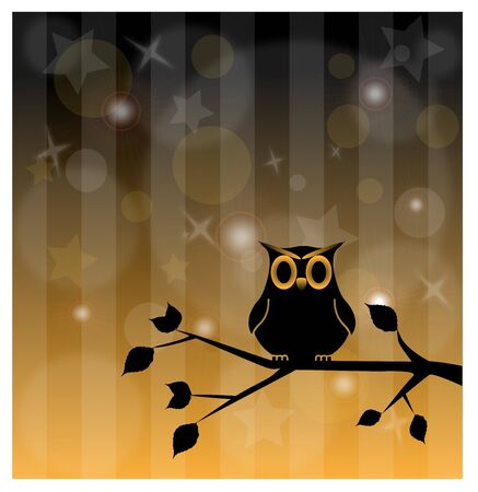 vector illustration of an owl on the branch on abstract background Stock Vector - 19397734