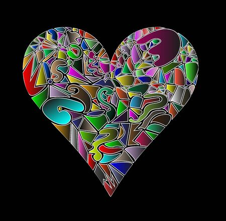 heart made of various colors mosaic style Stock Vector - 19397736