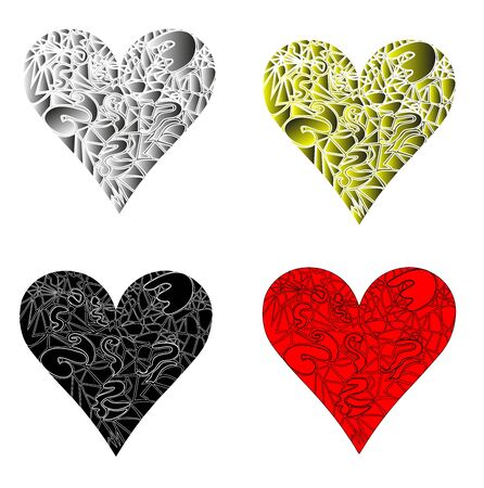 illustration of heart in different colors and style on white background Stock Vector - 19397737