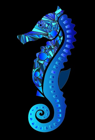 seahorse compound with colors in shades of blue Vector
