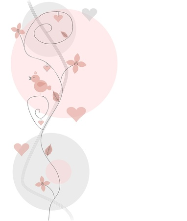 floral decoration in shades of pink Illustration