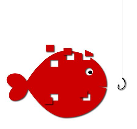 goldfish decomposed that approaches fishing hook Stock Vector - 19397738