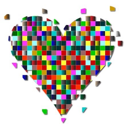 heart made up of colored squares on a white background Stock Vector - 19548973