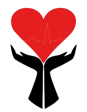 silhouette of hands holding up a heart Stock Vector - 19549004