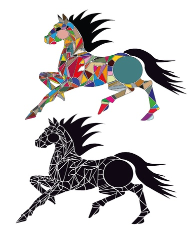 illustration of horse racing consists of colors