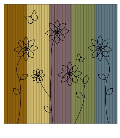 silhouette of flowers on a colorful striped Illustration