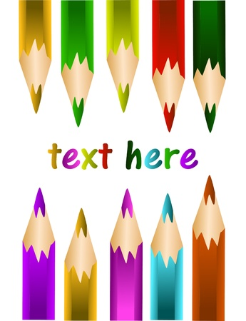 creativeness: illustration of colored pencils with space for text Illustration